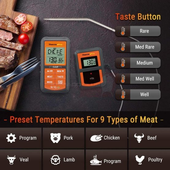 ThermoPro TP-07S digital wireless food thermometer